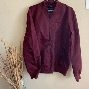 American Rag• maroon bomber jacket in size large